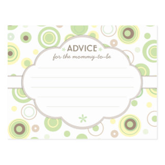 Green Dots Baby Shower Advice for Mommy to Be Postcard
