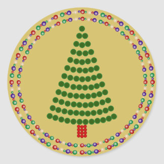 Green Dots Christmas Tree with Twin Rings on Gold Round Sticker