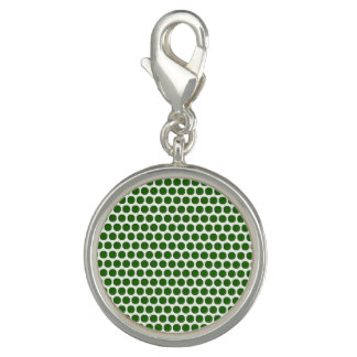 Green Dots Round Charm