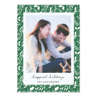 Green Dotted Greens Custom Photo Holiday Card