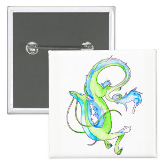 Green Dragon 15 Cm Square Badge