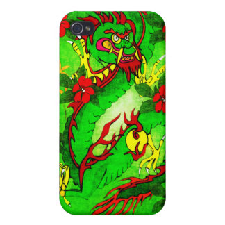 Green Dragon and Red Flowers iPhone 4/4S Cases