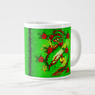Green Dragon and Red Flowers Extra Large Mug