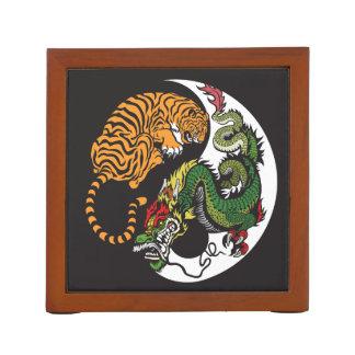 green dragon and tiger yin yang symbol desk organiser
