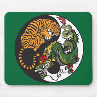 green dragon and tiger yin yang symbol mouse pad
