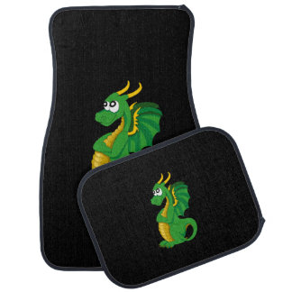 Green dragon cartoon car mat
