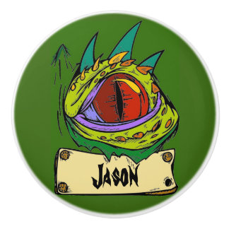 Green Dragon Eye Kids Name Dresser Knob Pull