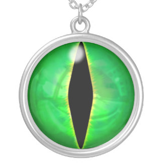 Green Dragon Eye Silver Plated Necklace