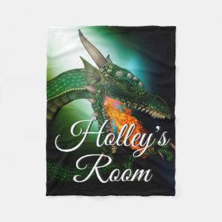 Green Dragon Fire Breath Fantasy Art Personalized Fleece Blanket