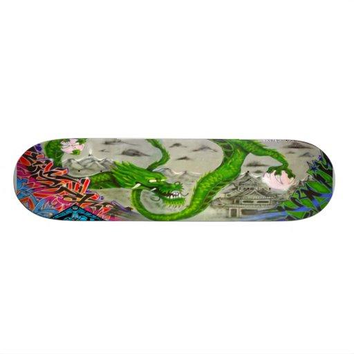 Green Dragon Graffiti Sk8 Deck Skate Deck