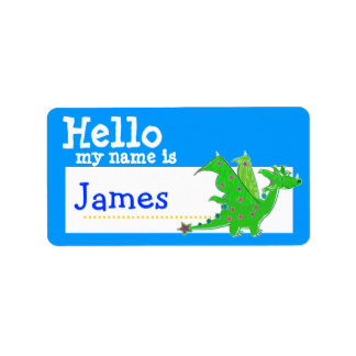 Green Dragon Hello My Name is Badge Blue Label