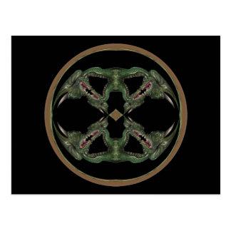 Green Dragon Kaleidoscope Post Cards