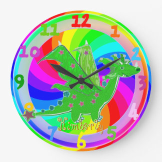 Green Dragon Kids Clock customizable Name Kimberly