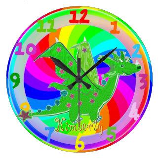 Green Dragon Kids Clock customizable Name Kimberly