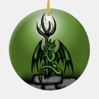 green Dragon Round Ceramic Decoration