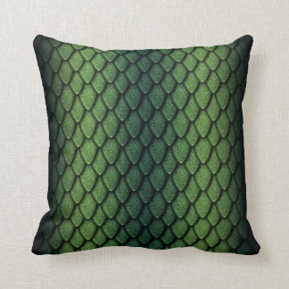 Green Dragon Scales Throw Pillow