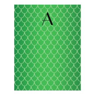 Green dragon scales monogram 21.5 cm x 28 cm flyer