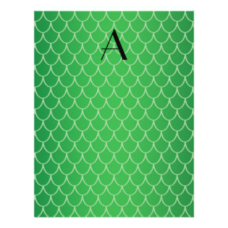 Green dragon scales monogram personalized flyer