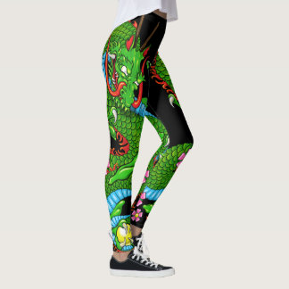 Green Dragon Tattoo with Cherry Blossoms Leggings