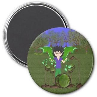 Green Dragon Winged Drummer Boy Faerie Refrigerator Magnets
