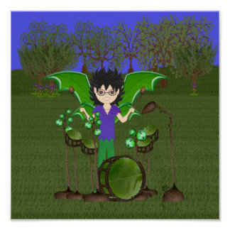 Green Dragon Winged Drummer Boy Faerie Posters