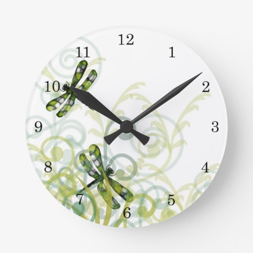 Green dragonflies wall clock zazzle for Green wall clocks uk