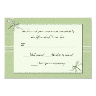 Green dragonflies Wedding Response Card