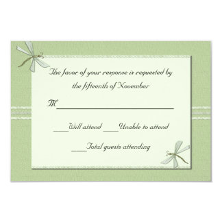 Green dragonflies Wedding Response Card 9 Cm X 13 Cm Invitation Card