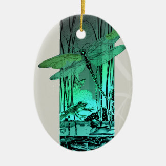 Green Dragonfly and Frog in the Pond Ceramic Oval Decoration