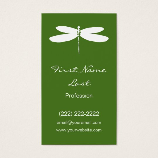 Green Dragonfly Business Cards | Dragon Fly Logo