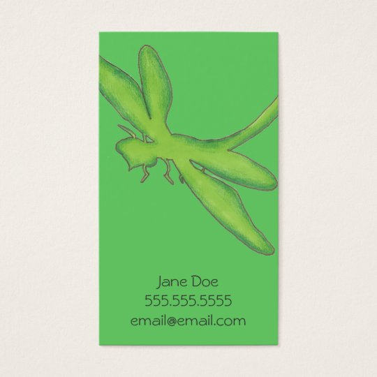 Green Dragonfly Calling Card (vertical)