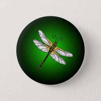 Green Dragonfly Dragonflies Button
