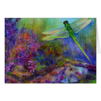 Green Dragonfly Flower Garden Art Card