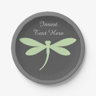 Green Dragonfly Paper Plates - Monogram or Text 7 Inch Paper Plate
