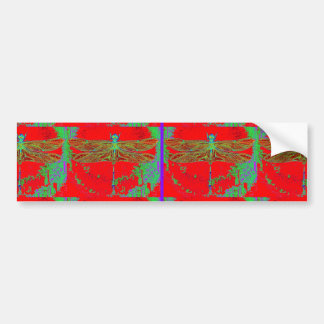Green Dragonfly -Red Gifts by Sharles Bumper Sticker