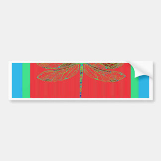 Green Dragonfly -Rouge Red Gifts by Sharles Bumper Sticker
