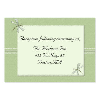 Green dragonfly Wedding enclosure cards Pack Of Chubby Business Cards