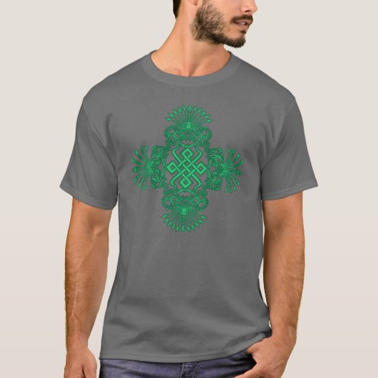 Green Dragons and Tibetan Knot Mens Shirt
