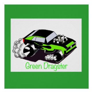 Green Dragster Poster for Kids