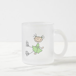 Green Dress Figure Skater Tshirts and Gifts Frosted Glass Mug
