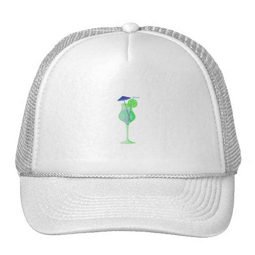 green drink glass w blue umbrella beach graphic.pn hats