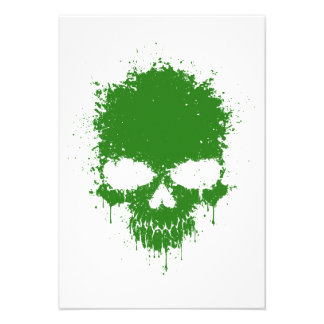 Green Dripping Splatter Skull Custom Invitations