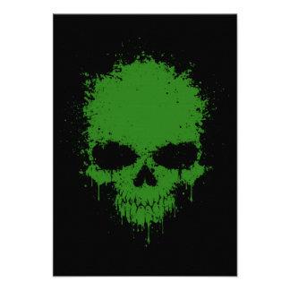 Green Dripping Splatter Skull Invitation