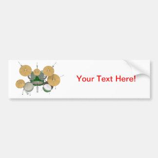 Green Drum Kit Bumper Sticker