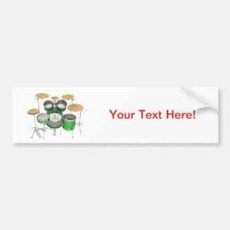 Green Drum Kit Bumper Stickers