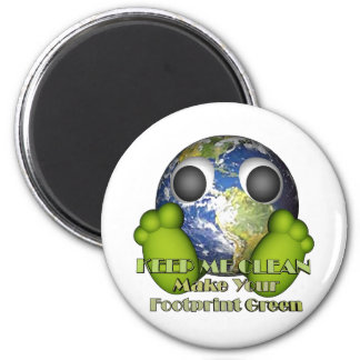 Green Earth Clean Earth 6 Cm Round Magnet