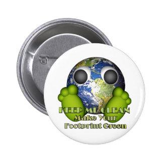Green Earth Clean Earth 6 Cm Round Badge
