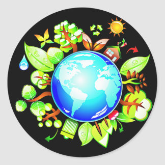 Green Earth Eco Friendly for Earth Day Round Sticker