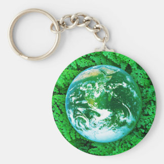 Green Earth - ecological awareness Basic Round Button Key Ring