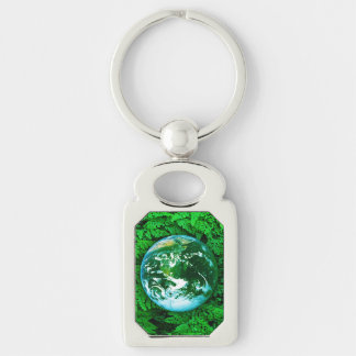 Green Earth - ecological awareness Silver-Colored Rectangle Key Ring